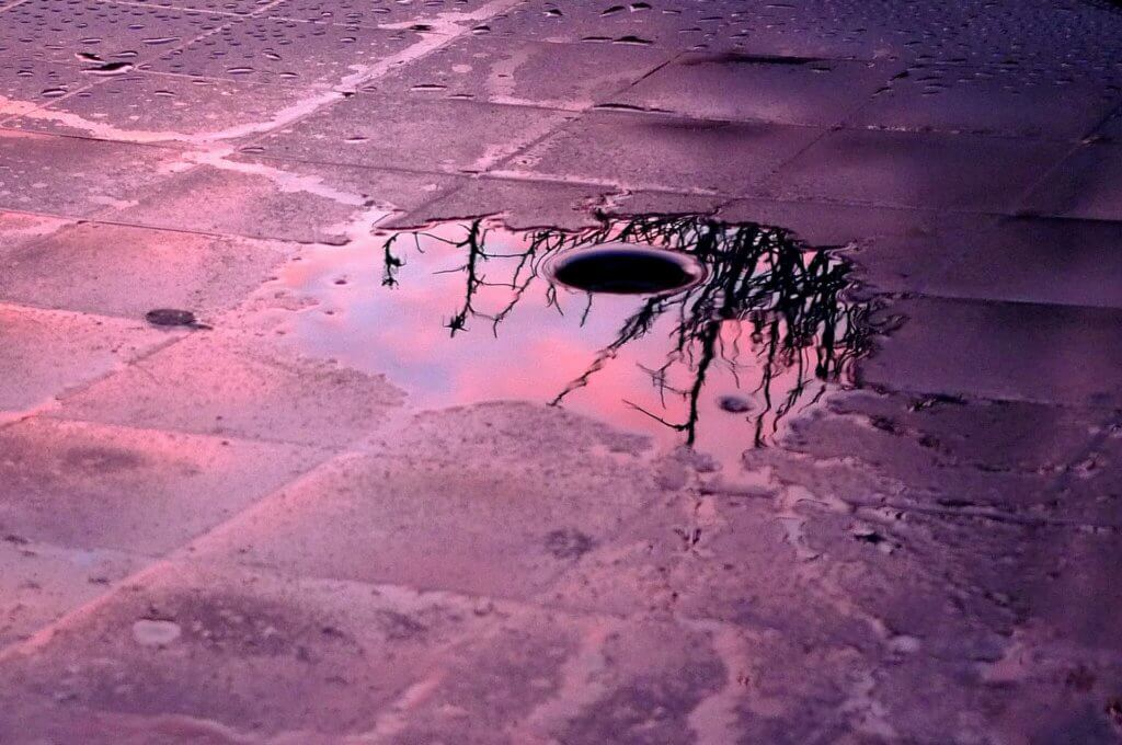 water puddle around a drain
